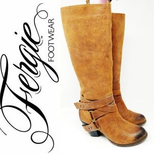 Fergie Knee High Brown Suede Strappy Burnish Boots